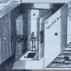 Althanasus Kircher; Large Portable Camera Obscura; 1646; engraving