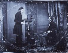 Jabez Hogg making a portrait in Richard Beard's studio; 1843; daguerrotype