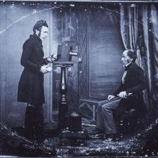 Jabez Hogg making a portrait in Richard Beard's studio; 1843; daguerrotype