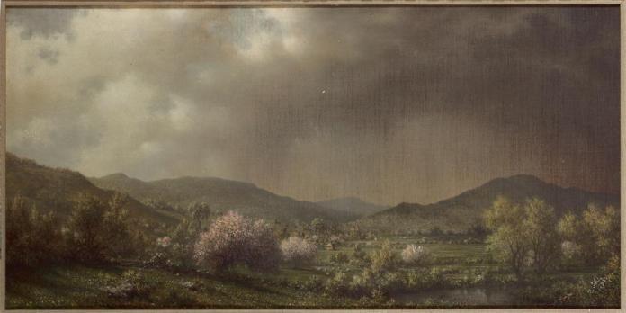 Martin Johnson Heade; Spring Shower, Connecticut Valley; 1868; 20 x 40 inches