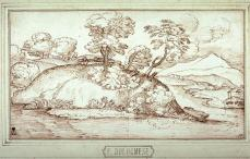 Giovanni Francesco Grimaldi; Landscape;17th century; pen and brown ink over black chalk; 14 x 25.2 cm; Fine Arts Museum of San Francisco