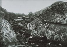 Alexander Gardiner; Home of a Rebel Sharpshooter, Gettysburg; 1863; collodion print