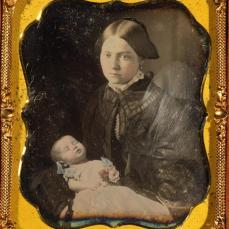 Unidentified; Post-mortem Portrait, Woman Holding Baby; c.1855; daguerrotype with applied color; George Eastman House, Rochester, NY