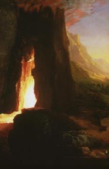 Thomas Cole; Expulsion: Moon and Firelight (detail); c.1827; oil on canvas; Joslyn Art Museum