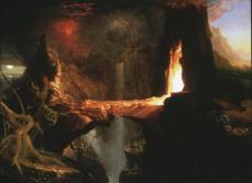Thomas Cole; Expulsion: Moon and Firelight; c.1827; oil on canvas; Joslyn Art Museum