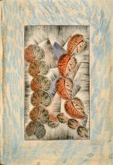 Charles Carrick; Page (146) from the book, Flights of Fancy or Imaginary Scraps; c.1842-77; prints from real leaves, stenciled transparent and opaque watercolor, pastel and pen and ink on paper; 22.1 x 15.8 cm; Fine Arts Museum of San Francisco