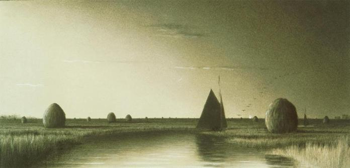 Martin Johnson Heade; Twillight on the Plum Island River; c.1860s; charcoal, chalks on paper