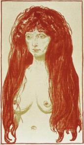 Edvard Munch; The Sin (Nude with Red Hair); 1901; color lithograph; San Diego Museum of Art