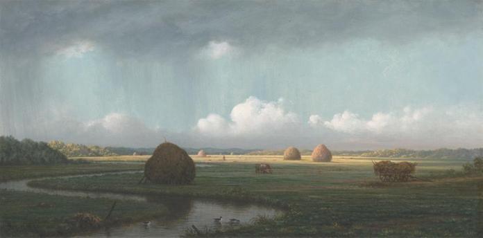 Martin Johnson Heade; Sudden Showers, Newbury Marshes; oil on canvas; c.1865-75; Yale University Art Gallery
