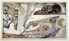 Charles Carrick; Page (116) from the book, Flights of Fancy or Imaginary Scraps; c.1842-77; prints from leaves, transparent and opaque watercolor, metallic pigments, pen and ink and pastel on paper; 22.1 x 15.8 cm; Fine Arts Museum of San Francisco