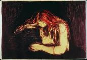 Edvard Munch; Vampire; 1895; lithograph and woodcut; Art Institute of Chicago