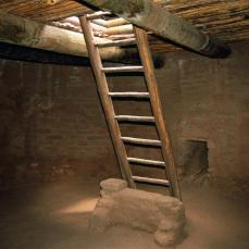 Pecos Pueblo, Kiva Reconstruction: Ladder, Ceiling, Deflector, Ventilator Shaft; 1300-2001; Pecos, New Mexico