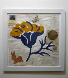 Donald Baechler; Yellow Flower #2; 1995; gesso, gouache, pencil, ink and collage on paper