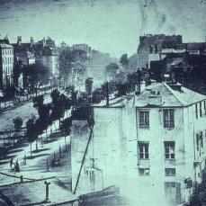 Louis Jaques Mandé Daguerre; Paris Boulevard; 1839; daguerrotype