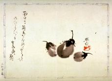 Hironari; Baby Eggplants; c.1820; brush and sumo ink on a sheet of Japanese album paper with printed border design; 19.5 x 26.4 cm; Fine Arts Museums of San Francisco