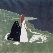 Edvard Munch; Woman on the Shore; 1898; colored woodcut