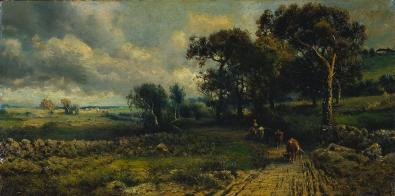 George Inness; Fleecy Clouds; 1881; oil on canvas; 25.5 x 51 cm; The Cleveland Museum of Art