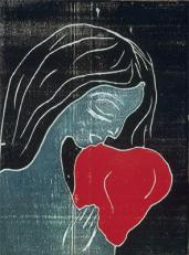Edvard Munch; Maiden and the Heart; 1899; woodcut; 25.2 x 18.4 cm; Oslo Kommunes Kunstsamlinger