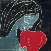 Edvard Munch; Maiden and the Heart; 1899; woodcut; 25.2 x 18.4 cm; Oslo Kommunes Kunstsamlinger