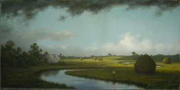 Martin Johnson Heade; Newburyport Marshes: Approaching Storm; c.1871; oil on canvas; 38.7 x 76.5 cm; Terra Foundation for American Art
