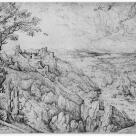 after Pieter Bruegel I; Landscape with St. Jerome; 1556; pen and brown ink; 307 x 418 mm; British Museum Dept. of Prints and Drawings