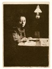 Käthe Kollwitz; Self-Portrait at the Table; 1893; etching and aquatint; 18.4 x 13.3 cm
