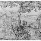 after Pieter Bruegel I; Soldiers in a Landscape; pen and brown ink, over graphite; 261 x 398 mm; British Museum of Prints and Drawings