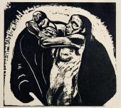 "Käthe Kollwitz; The Sacrifice, first folio in series ""The War""; 1922; xylography engraving; Kunsthalle Bremen, Germany"