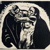 "Käthe Kollwitz; The Sacrifice, first folio in series ""The War""; 1922; xylography engraving; Kunsthalle Bremen, Germany"