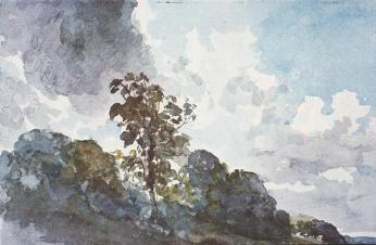 John Constable; Sky Study with Tree; watercolor; British Museum