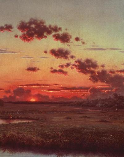 Martin Johnson Heade; Sunset on the Marshes (detail); c.1865; oil on canvas