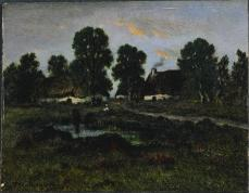 Théodore Rousseau; Cottages Near Larchant; oil on wood panel; 13.6 x 17.6cm; The Cleveland Museum of Art