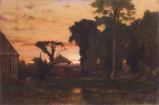 George Inness; Evening at Medfield, Massachusetts; 1869; 29.8 x 44.5 cm; Fine Arts Museums of San Francisco