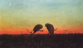 Martin Johnson Heade; Two Owls at Sunset; c.1860