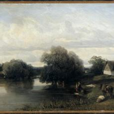 Camille Flers; Cottage by the River with Washerwoman; 1835; oil on fabric; 29.8 x 46.1 cm; The Cleveland Museum of Art