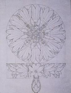 Philipp Otto Runge; Construction of a Cornflower; 1808-9; pen, ink, pencil on paper; 25 x 19.4 cm