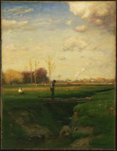 George Inness; Short Cut, Watchung Station, New Jersey; 1883; oil on canvas; 95.6 x 74 cm; Philadelphia Museum of Art