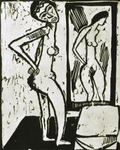Karl Schmidt-Rottluff; Nude Before a Mirror; 1914; woodcut