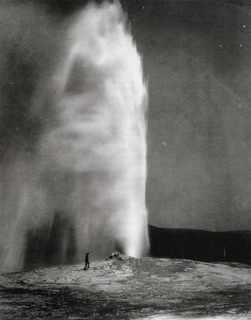 Timothy O'Sullivan; Old Faithful Geyser, Yellowstone, 1870; albumen print; 51.4 x 42.5 cm