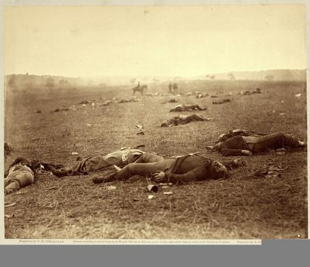 Timothy O'Sullivan; A Harvest of Death, Gettysburg, Pennsylvania; 1863; albumen print; 17.2 x 22.2 cm; George Eastman House