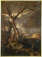 Salvator Rosa; Landscape with a Tree Trunk; painting; 1660-1670; Museo statale d'arte medievale e moderna di Arezzo