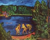 Erich Heckel; Bathers in the Lake; 1911; oil on canvas