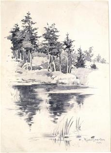 Charles Chase Emerson; Landscape; 1901; graphite on paper; 24.8 x 17.9 cm; Sterling and Francine Clark Art Institute. Dept. of Prints, Drawings and Photographs