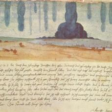 Albrecht Dürer; Landscape Flooded with Waters from Heaven; 1525; pen and watercolor; 30 x 42 cm