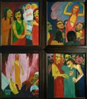 Emil Nolde; Life of Christ Tripdtych: detail showing the right wing with, clockwise from the upper left: the Women at the Tomb; the Ascension; the Doubting Thomas; and the Resurrection; 1911-2; oil on canvas; each panel - 100 x 86 cm; Stiftung Seebüll Ada und Emil Nolde