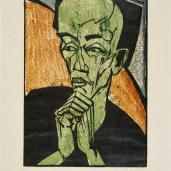 Erich Heckel; Portrait of a Man; 1919; colored woodcut; Museum at Ostwall, Dortmund, Germany