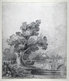 John Varley; Landscape with Tree and Cottage; 18th-19th century; drawing; 24.1 x 20.6 cm; Fine Arts Museum of San Francisco