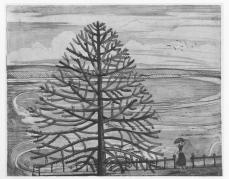 Paul Nash; Landscape with Tree and Girl; drawing; Victoria and Albert Museum, London, UK