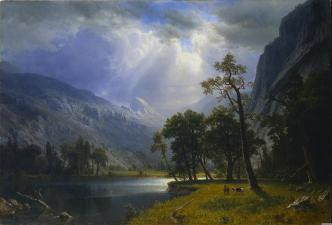 Albert Bierstadt; Yosemite Valley, Starr King Mountain; 1866; oil on canvas on panel; 97 x 142.3 cm; The Cleveland Museum of Art
