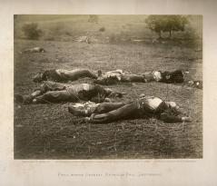 Timothy O'Sullivan; Dield Where General Reynolds Fell, Gettysburg; 1863; albumen print mounted on a heavier sheet; Fine Arts Museums of San Francisco